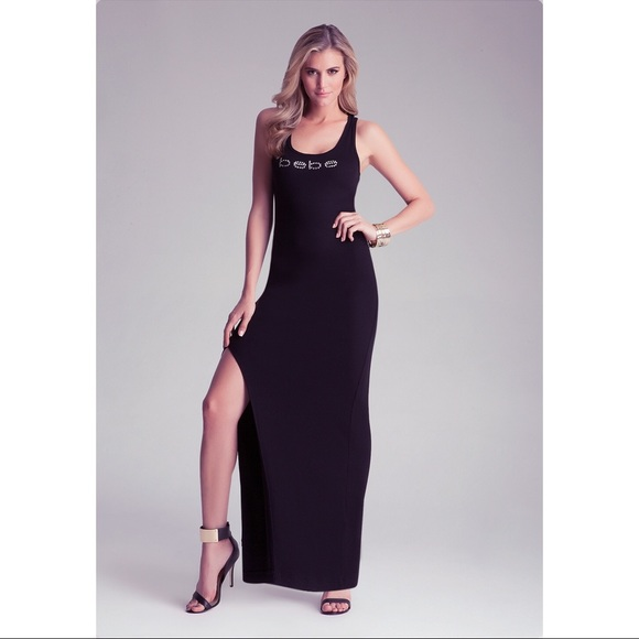 Bebe Logo Black Tank Maxi Dress